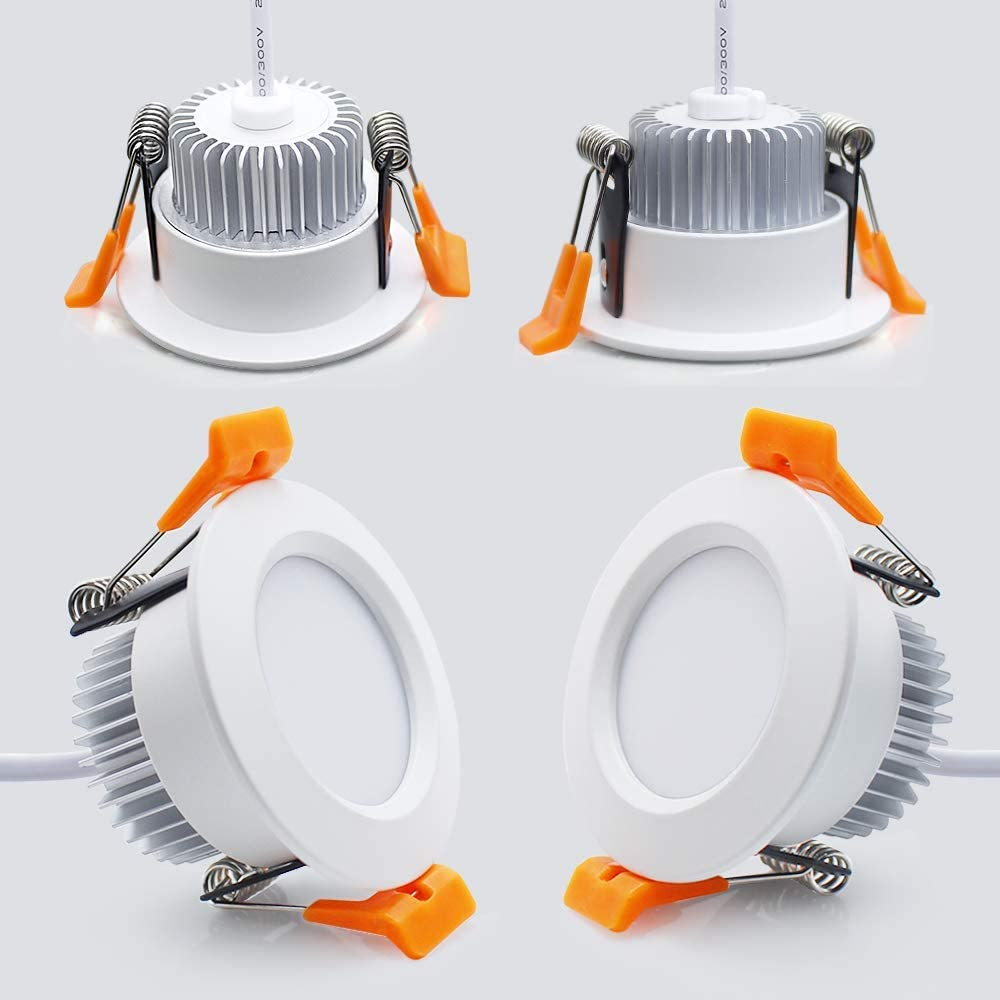 2 Inch LED Downlight, Recessed Lighting Dimmable Ceiling Light, 3W, 5500K Daylight White, CRI80 With LED Driver(35W Halogen Equivalent), 4 Pack