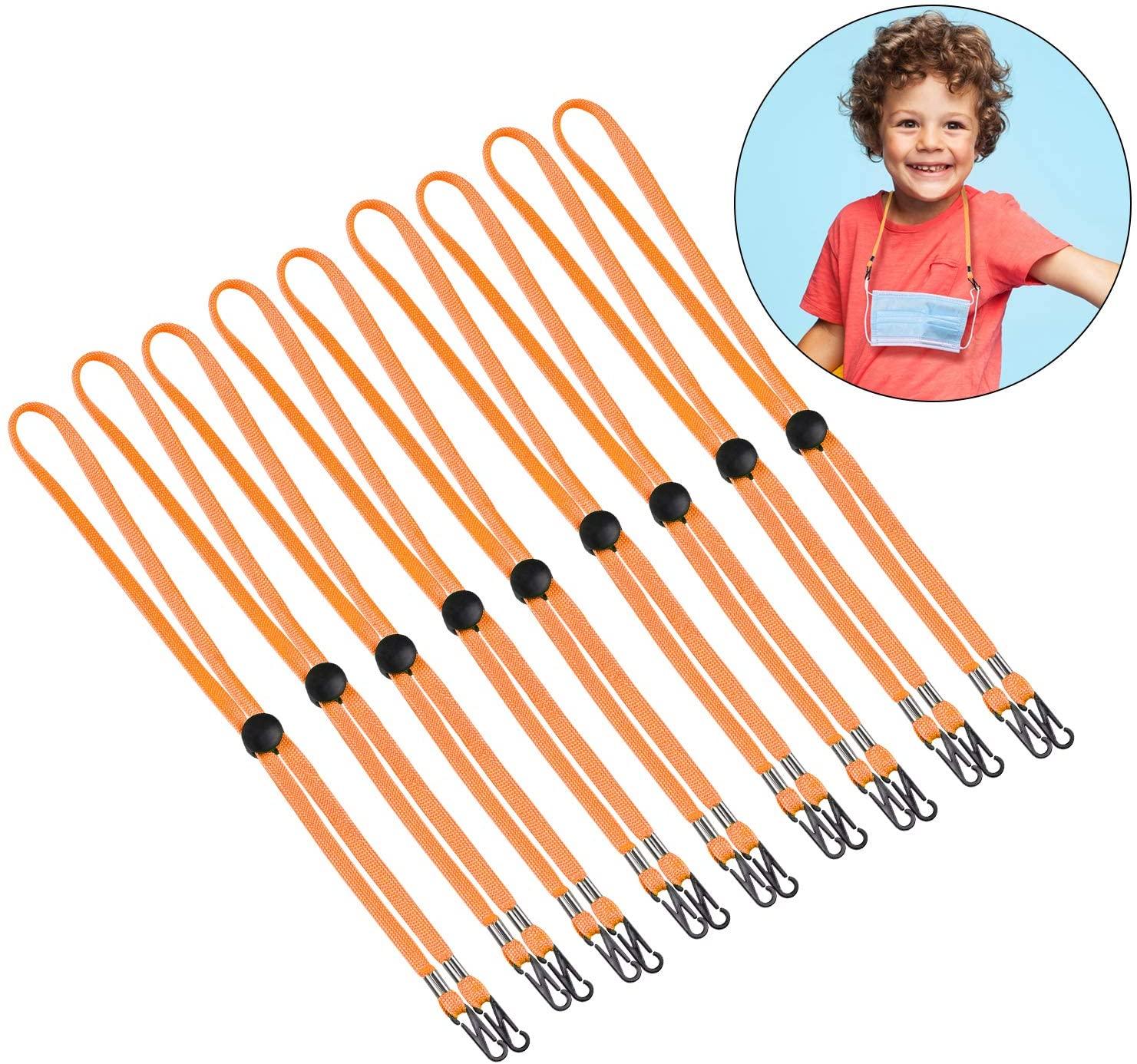 SfAVEreak 100 Pack Mask Lanyard for Kids, Double Clip Lanyard for Kids/Lanyard for Mask for Kids/Kids Lanyards for School - Orange