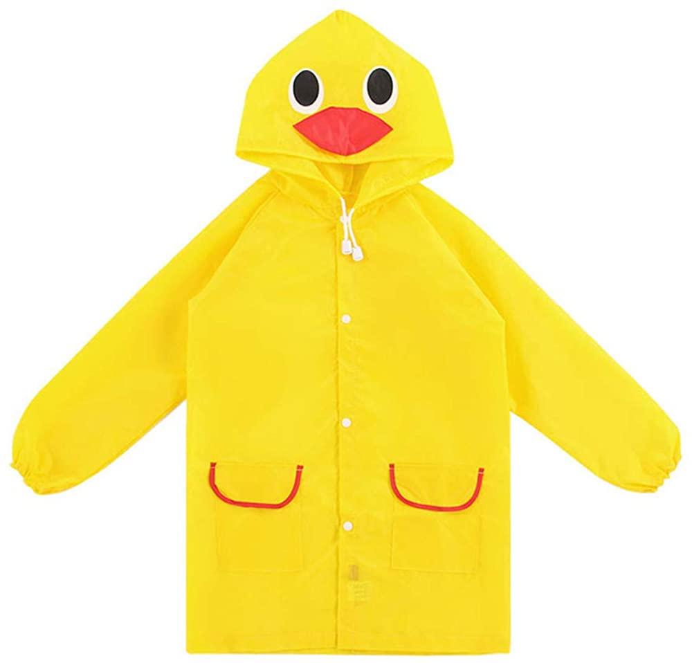 StyleZ Children Raincoat Cartoon Cute Yellow Duck/Green Froggy Waterproof Hooded Kids Rain Jacket Poncho for Age 5-12