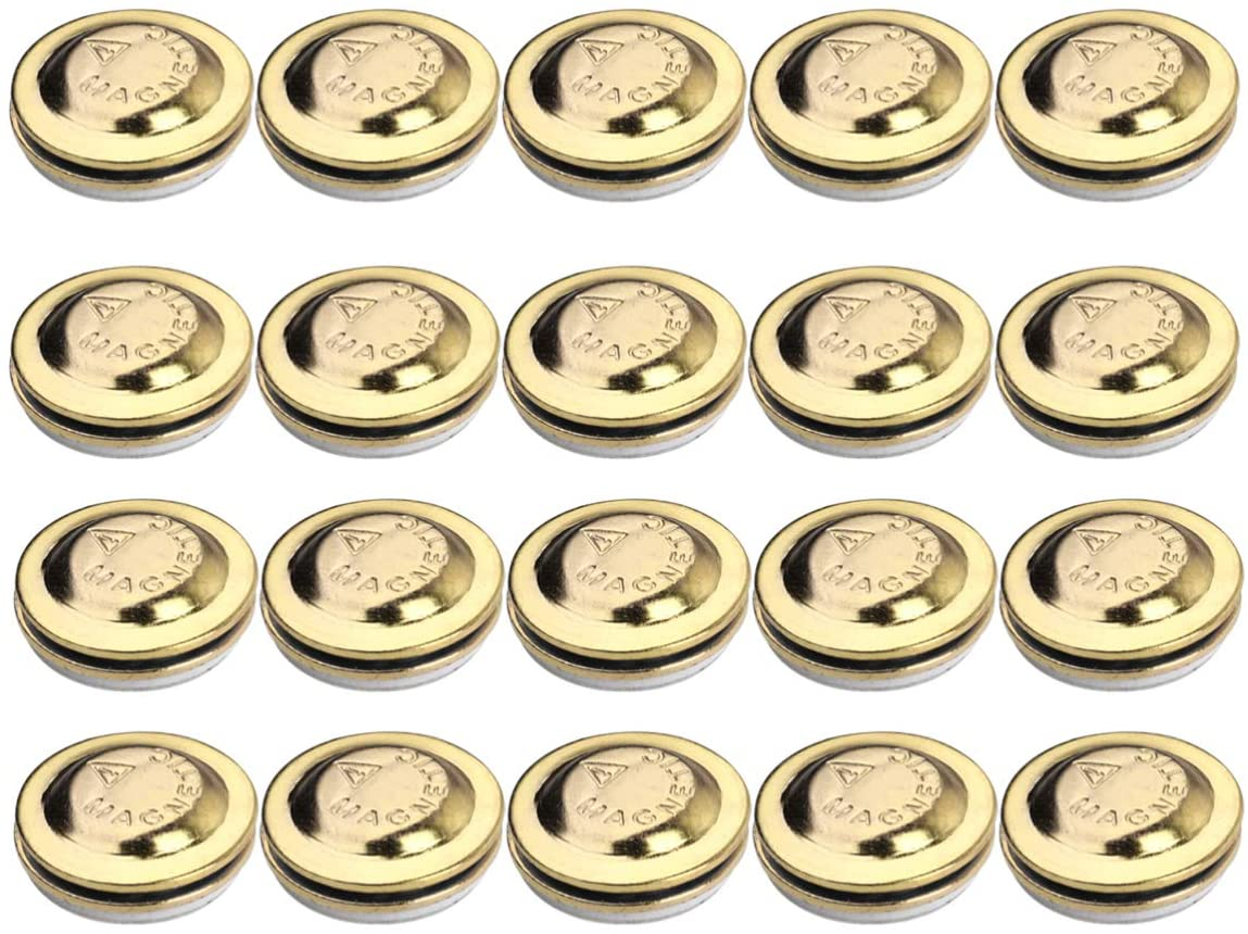 Milisten 24pcs Round Magnetic ID Name Badge Fastener Lapel Pin Brooch Holder Magnetic Ring Holder Clasp Name Tags (Gold)17mm
