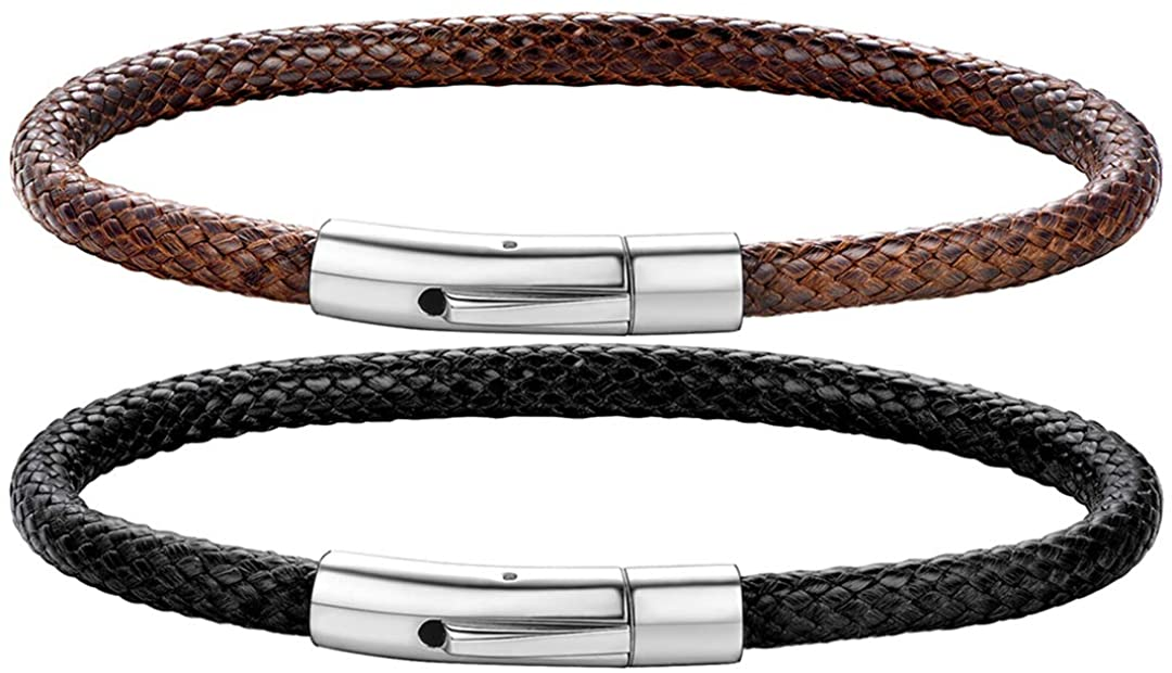 ChainsHouse 2mm/3mm Wide Braided Leather Cord Rope Necklace for Men Women Black Brown Chain Necklace for Pendant Stainless Steel Clasps,16-30 inch