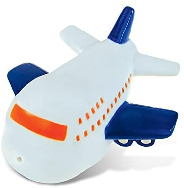 DolliBu Jetliner Bath Buddy Squirter - Floating White Airplane Rubber Bath Toy, Water Squirting Bathtime Play For Toddlers, Cute Aircraft Transport Toy For The Bathtub, Beach & Pool for Girls & Boys