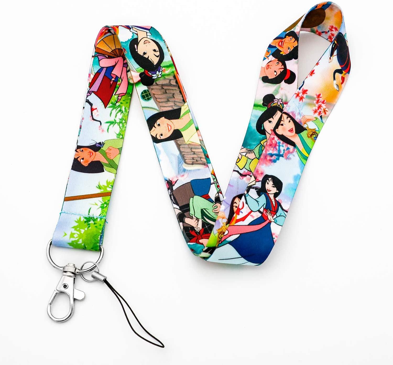 Premium Mulan Cartoon Characters Lanyard Key Chain ID Card Badge Holder Phone Hook (Colours)