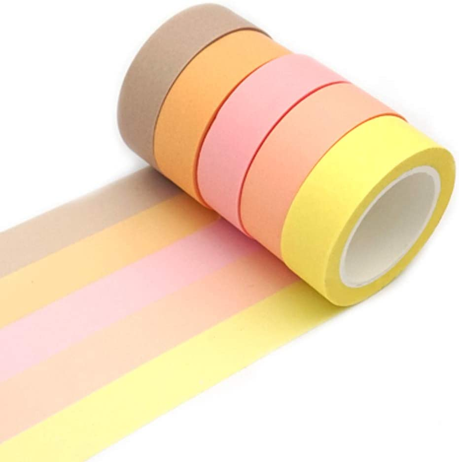 ERCENTURY Washi Masking Tape Set, Assorted 5 Rolls, Decorative Writable Tape, for Fun DIY Art Supplies, Scrapbooking Crafts Wrapping (Yellow-Toned)