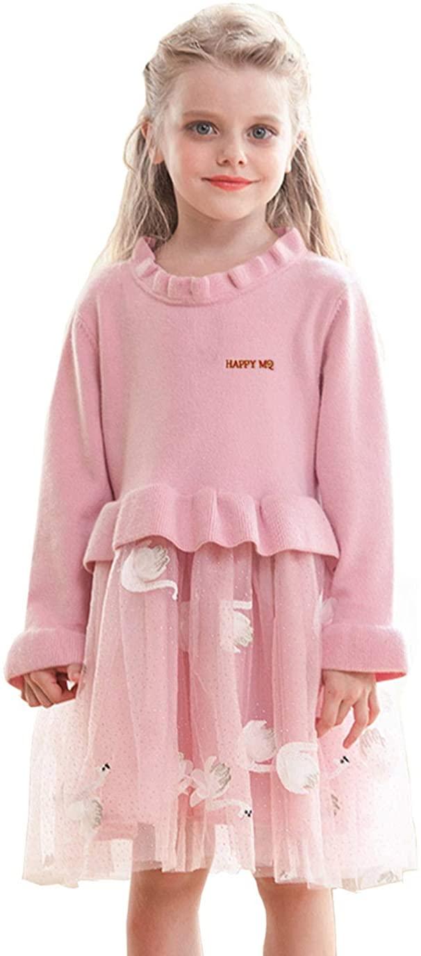 MQDORAFA Toddler Girls Knit Sweater Dress Long Sleeve Fall Winter Tutu Party Dress