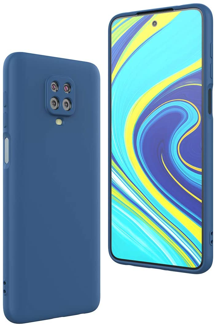 FUNMAX+ Redmi Note 9S / Redmi Note 9 Pro Case, Silicone Cover with Camera Protection Microfiber Lining Anti-Scratch Slim Fit Rubber Gel Bumper Phone Case (Blue)