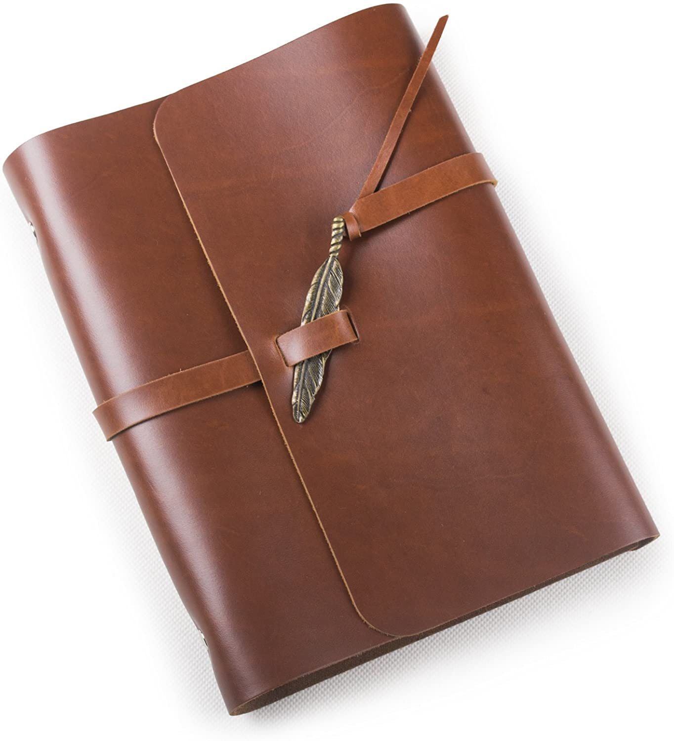 Ancicraft Soft Genuine Leather Journal Diary Notebook with Retro Feather Charm 6 Ring Binder A5 Lined Craft Paper (Red Brown & A5 Lined Craft Paper)