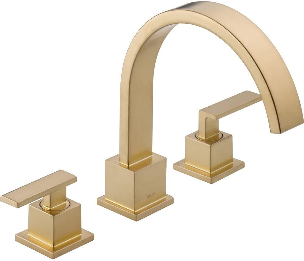 Delta Vero Modern Champagne Bronze Roman Tub Filler Faucet with Valve D905V