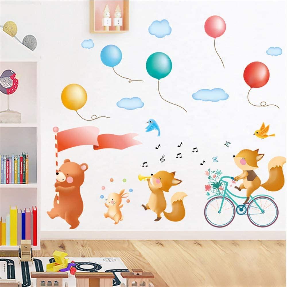 xmksd Cartoon Wall Sticker Animal Cycling Tour Street Bear Birds Balloon Cloud Decoration Wall Sticker for Baby Kids Rooms DIY Decal