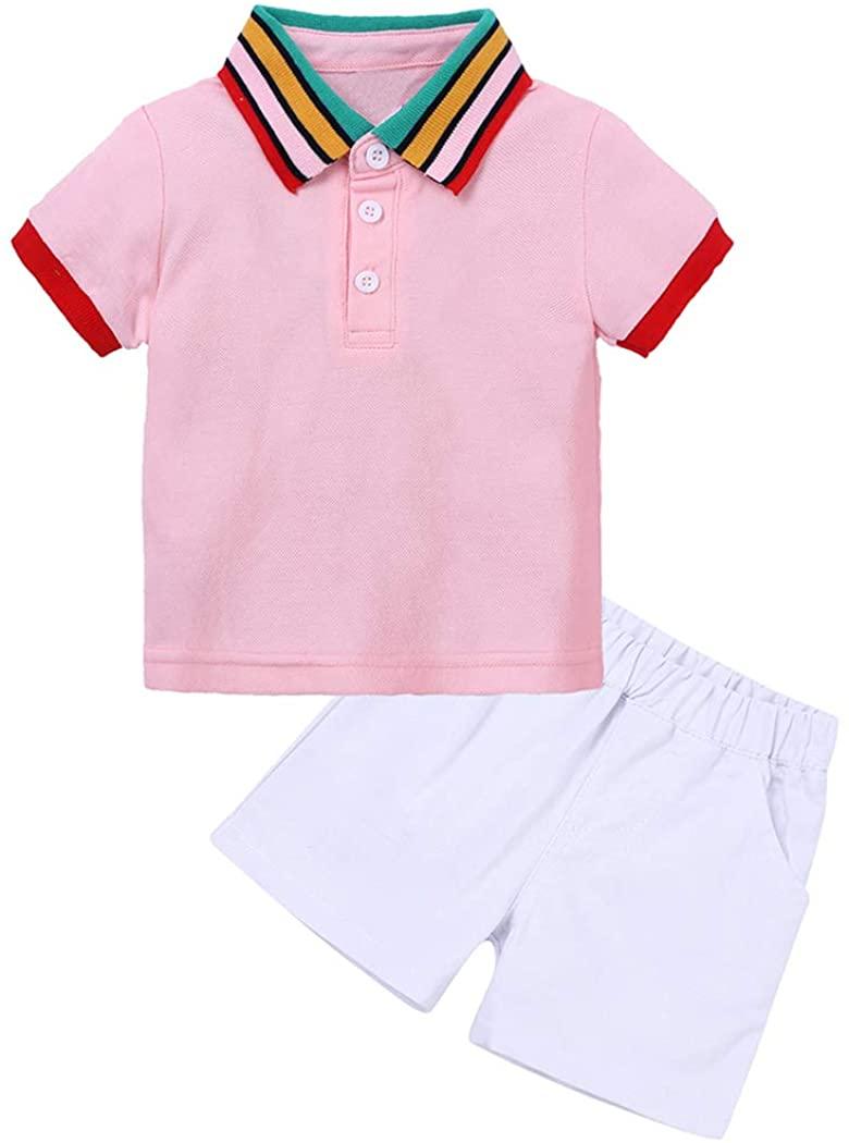 Little Boys Summer 2Pcs Polo Shirt Outfit Set Short Sleeve Tee + Elastic Shorts