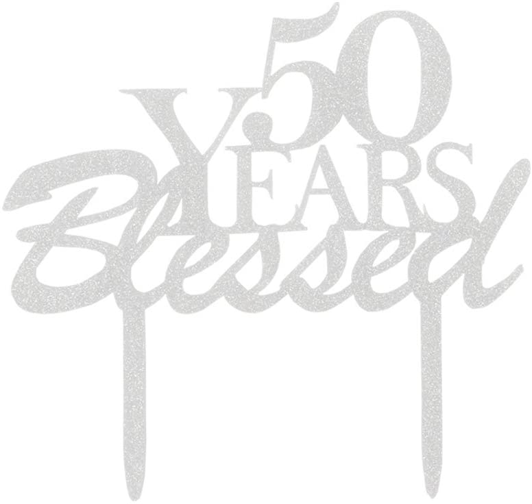 50 Years Blessed Cake Topper, 50th Birthday Party Decorations, 50th Wedding Anniversary Party Sign-Silver Color
