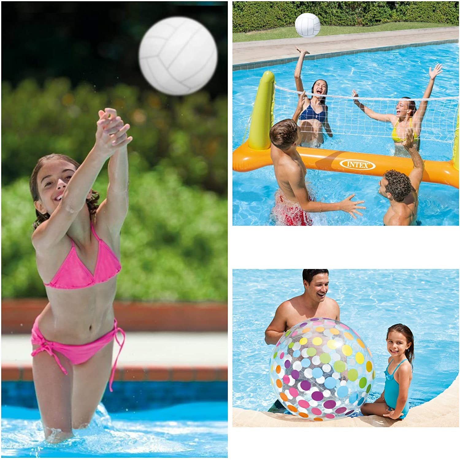 Intex Pool Fun Set • Pool Volleyball and Jumbo Beach Ball • for Pool Party and Family Fun (Ages 6+)