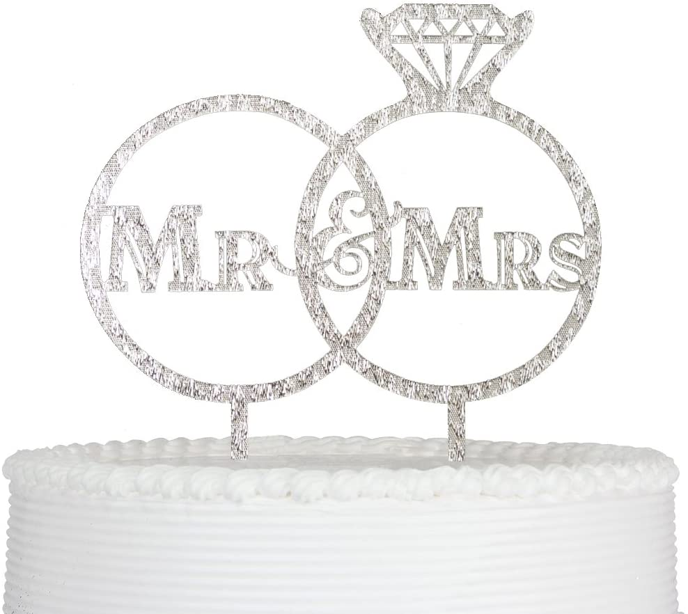 Qttier Bride and Groom Cake Topper, Mr and Mrs Sign for Wedding Decorations Sign Decor Silver