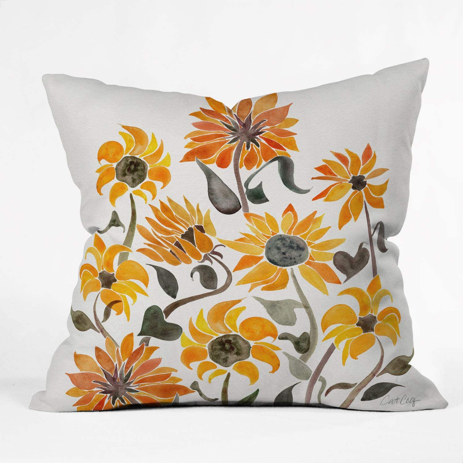 Society6 Cat Coquillette Sunflower Watercolor Yellow Indoor Throw Pillow, 16
