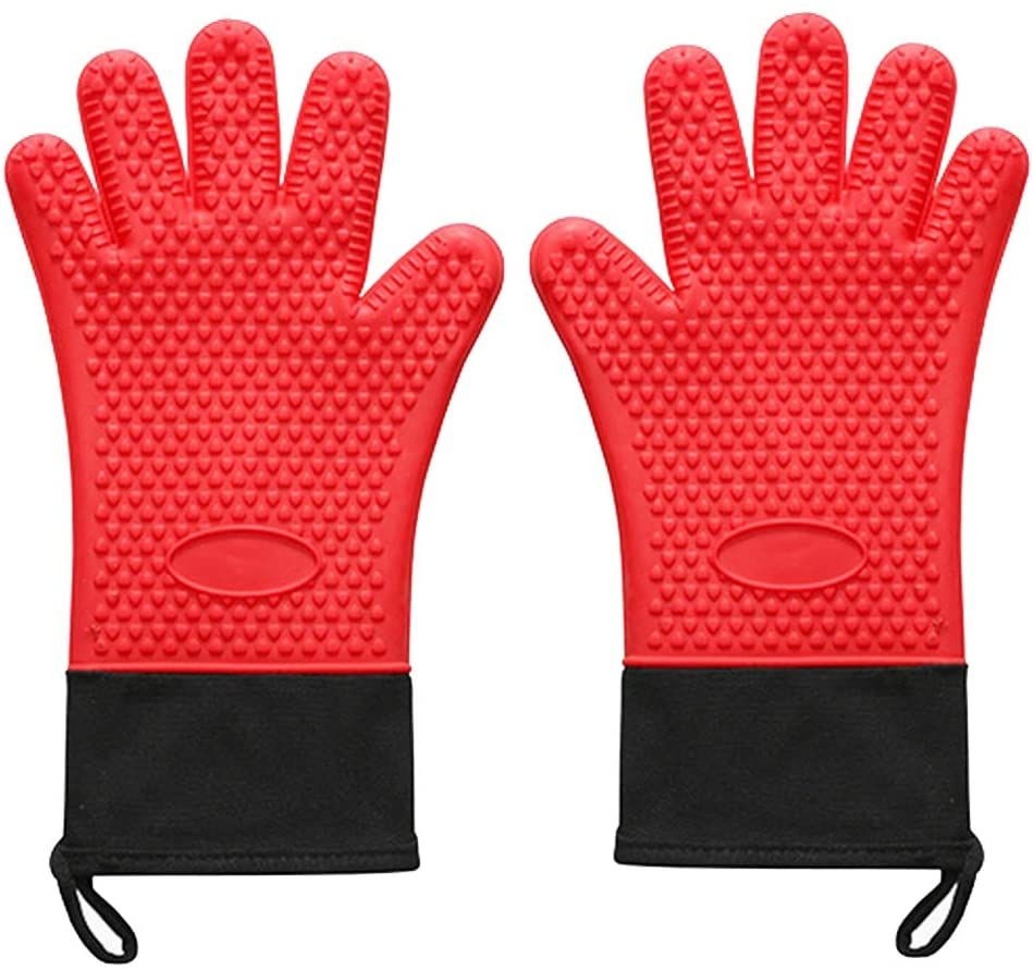 UUME Anti-Scald Anti-high Temperature Gloves Baking Bakeware Oven Gloves Thickened Silicone Oven Mitts(red)