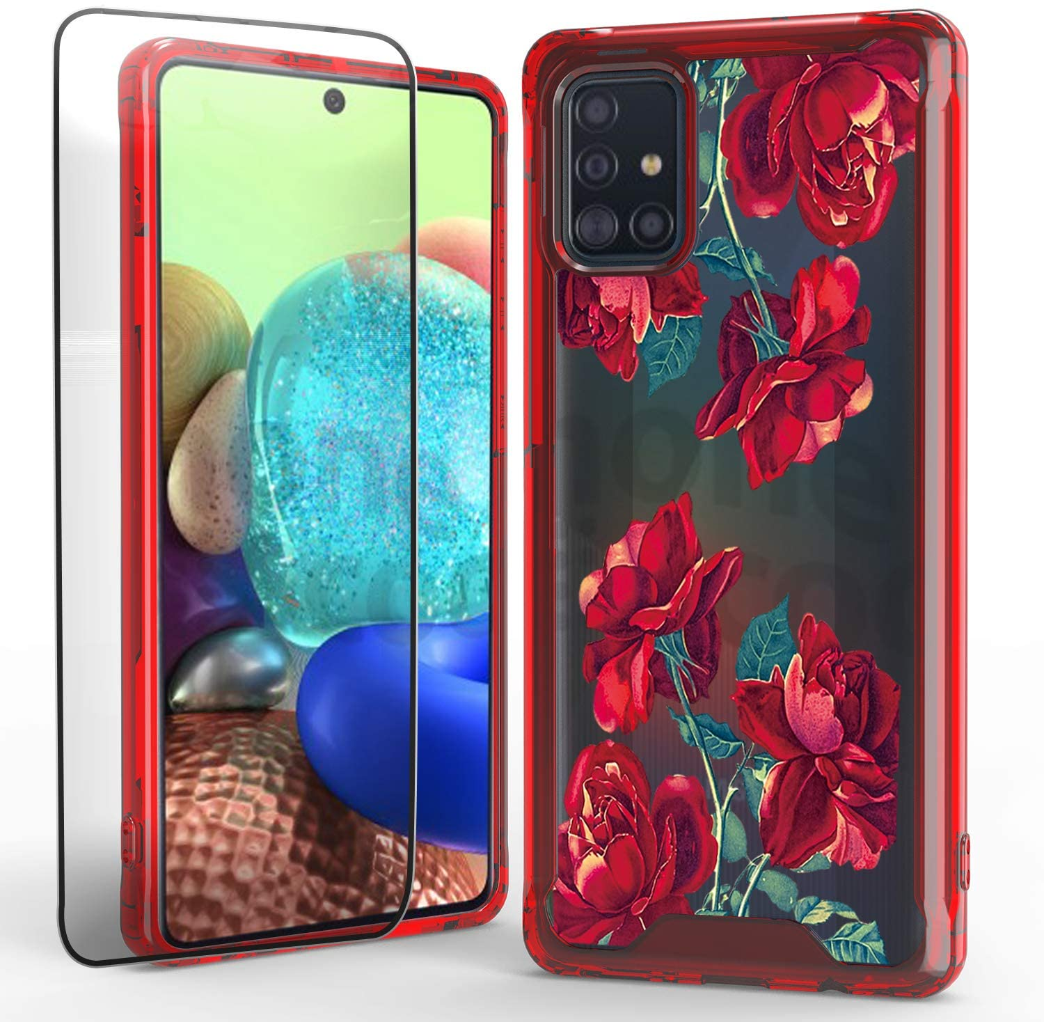 WZOKA Phone Case for Samsung Galaxy A71, Shockproof Aniti-Scratch Cover with Galaxy A71 Tempered Glass Screen Protector, Beautiful Design (Red Rose)