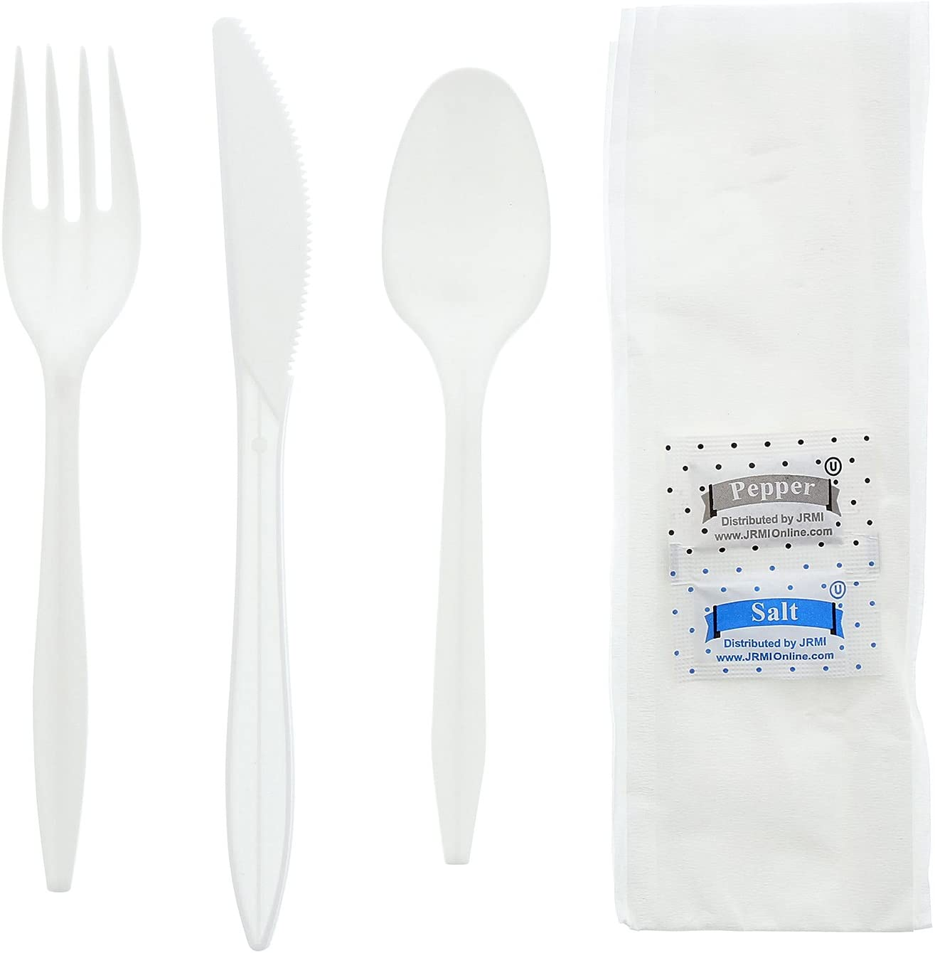 AmerCare Six Piece Meal Kit with 12 x 13 Napkin, Salt and Pepper Packets, White Medium Weight Fork, Knife, and Teaspoon, Case of 250