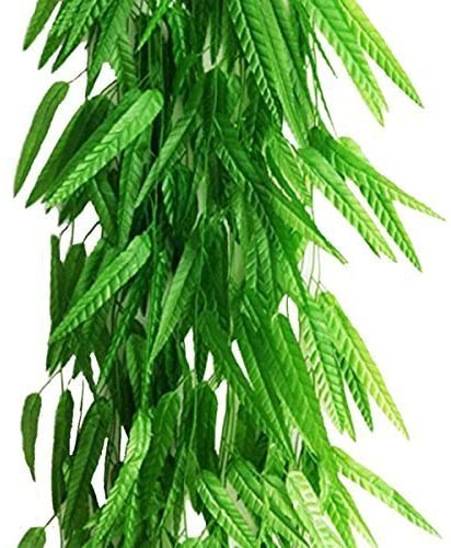 Artfen Fake Green Willow Rattan 71 Inch 50 Pcs Artificial Green Bamboo Leaves Artificial Greenery Lvy Vine Leaves Artificial Flower Garland for Home Hotel Office Wedding Party Garden Decor