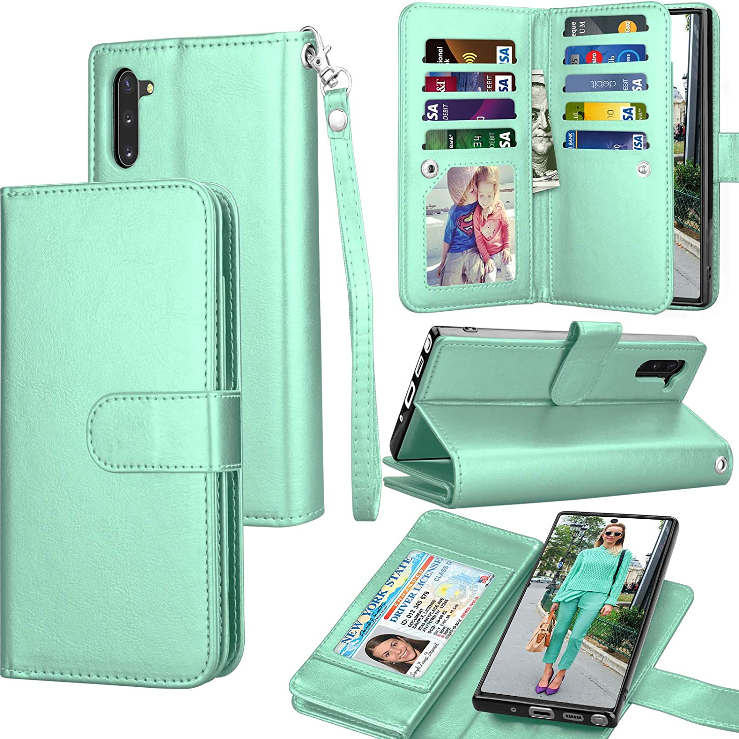 Galaxy Note 10 Case, Galaxy Note 10 Wallet Case, Luxury Cash Credit Card Slots Holder Carrying Folio Flip PU Leather Cover [Detachable Magnetic Hard Case] Kickstand for Samsung Note10 [Turquoise]
