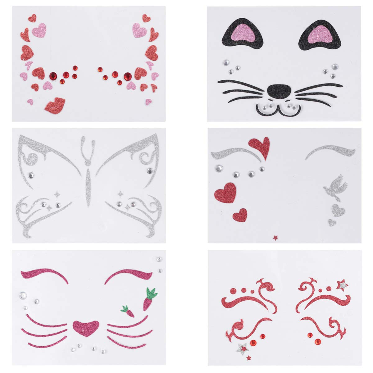 Beaupretty 6pcs Halloween Face Stickers Heart Face Tattoo Halloween Makeup Stickers Cat Face Decal Glitter Temporary Tattoos Halloween Party Favor (Multi Color)