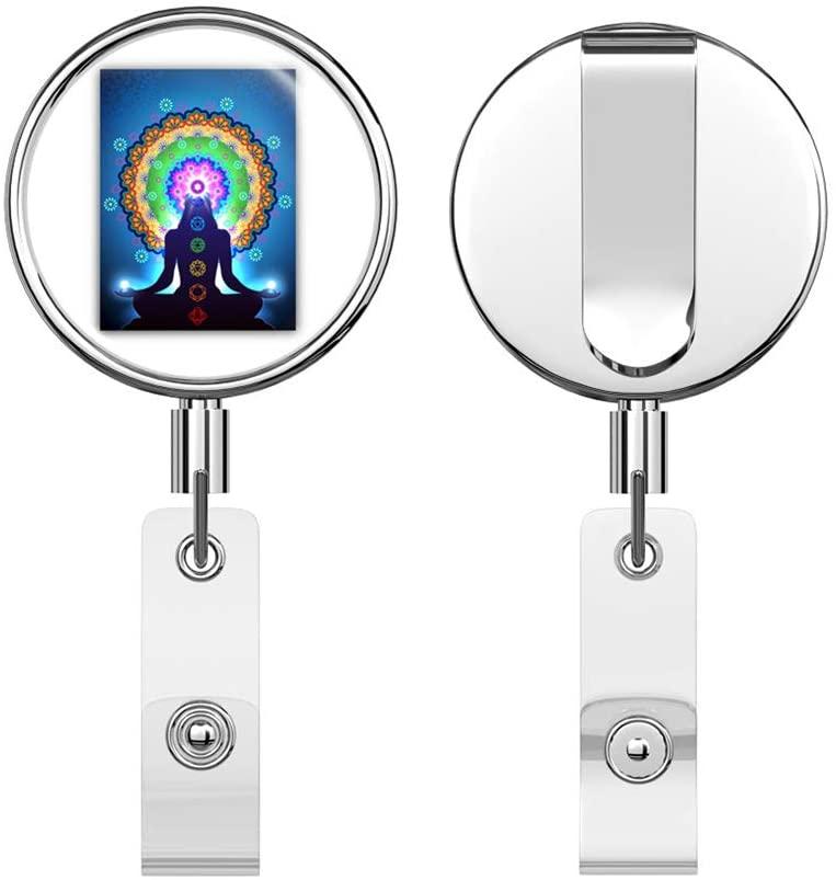 Meditation Chakra Round ID Badge Key Card Tag Holder Badge Retractable Reel Badge Holder with Belt Clip