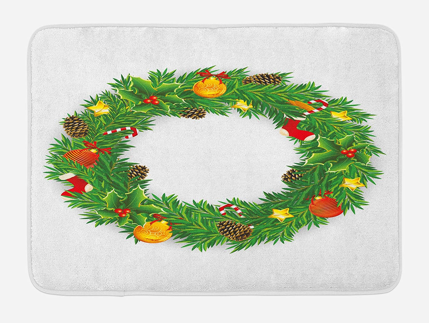 Ambesonne Christmas Bath Mat, Illustration of Dressed Christmas Wreath with Festival Objects Vivid Design, Plush Bathroom Decor Mat with Non Slip Backing, 29.5