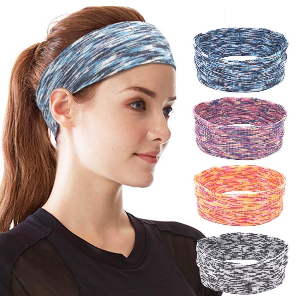 Campsis Yoga Headbands Grey Running Sweatbands Strecthy Sport Headwear for Women and Girls (Pack of 4)
