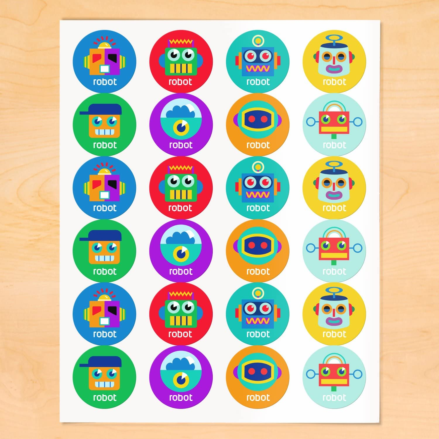 Olive Kids ROBO Personalized Round Waterproof Labels