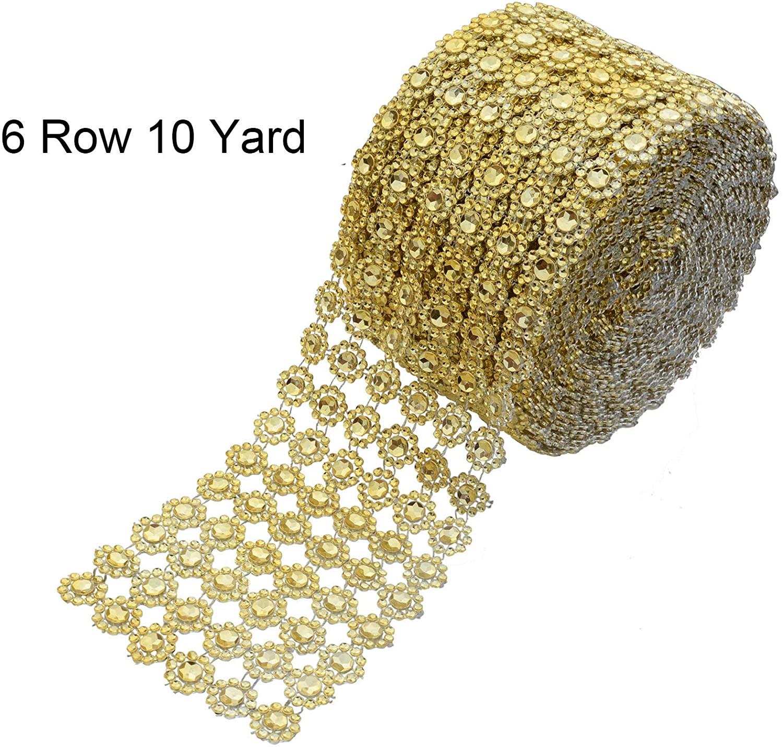 YYaaloa 4 x 10 Yards (30 ft 6 Rows) Gold Bling Rhinestone Diamond Flower Shape Mesh Wrap Roll Faux Rhinestone Crystal Ribbon for Wedding, Cake, Vase Decorations, Party Supplies (Gold)