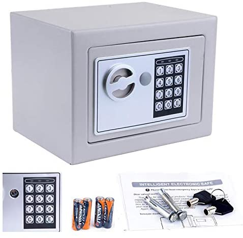 Security Safe Box, Digital Small Electronic Safe Box Lock Box, Cabinet Safe for Passports Money Cash Jewelry Storage, Great for Home, Business or Travel (Included Batteries)