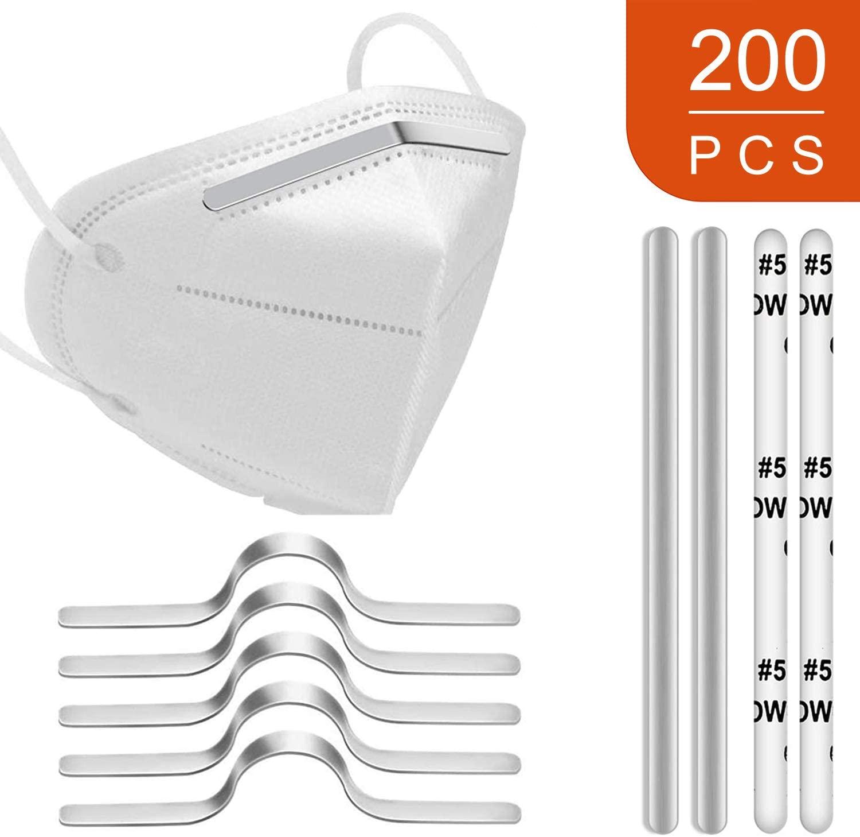 Aluminum Strips Nose Wire,Nose Bridge for Mask,90MM Metal Flat Nose Clips Nose Bridge Bracket DIY Wire (200PCS)