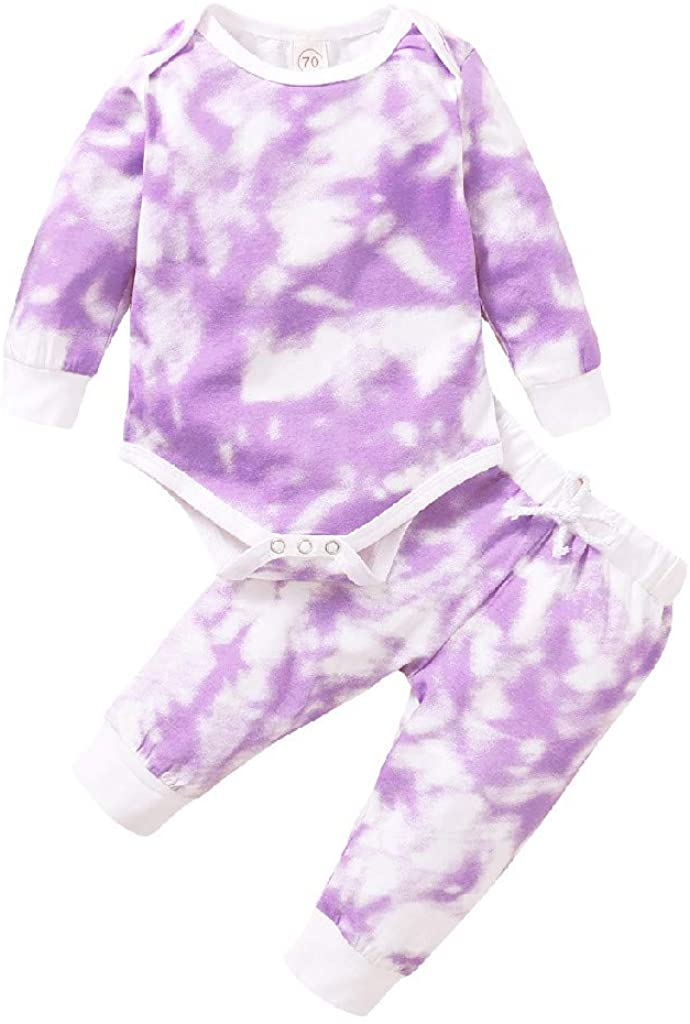 Baby Girls Boy Rainbow Tie-Dyed Rompers+Pants Long Sleeve Infant Bodysuit Jumpsuit Clothes