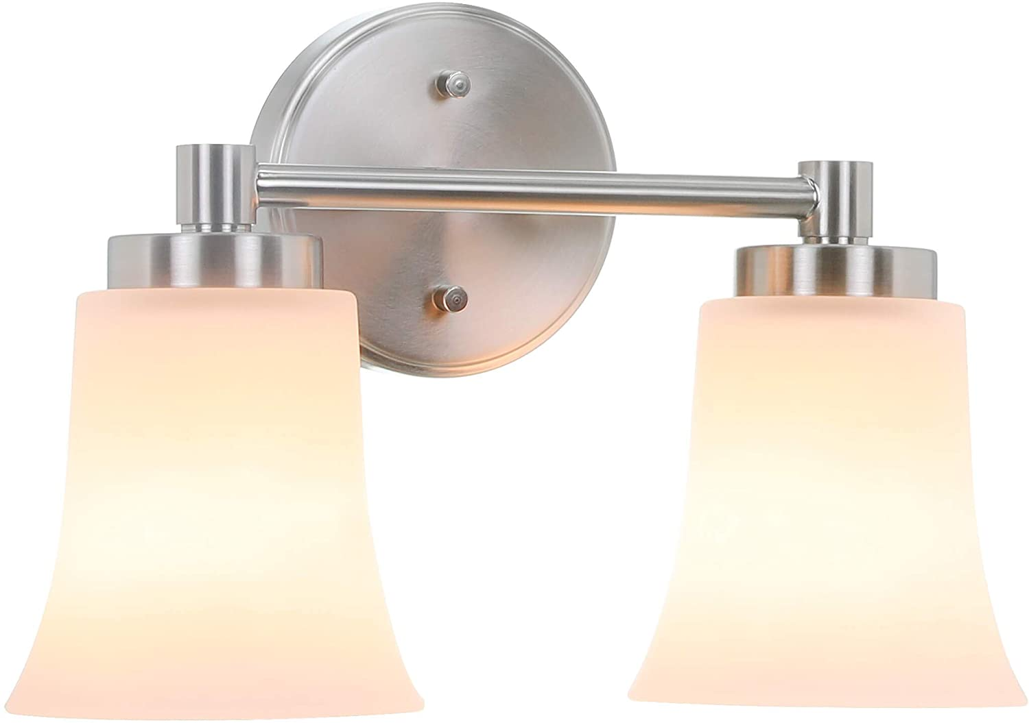 XiNBEi Lighting Bathroom Vanity Light, Modern Wall Light with Glass, Brushed Nickel 2 Light Bath Bar Light XB-W1235-2-BN