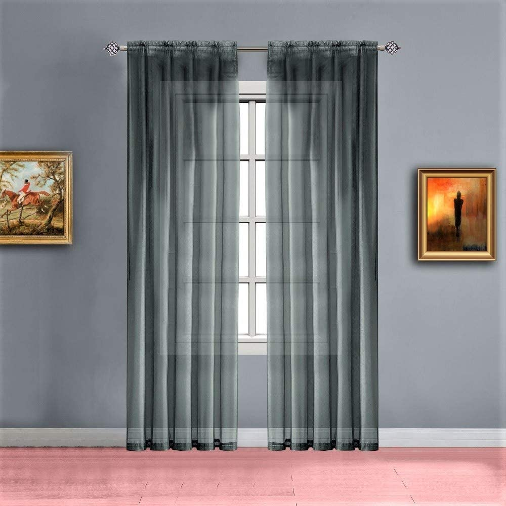 Warm Home Designs Pair of Extra Long Length Charcoal Olive (Dark Green Mixed with Charcoal) Sheer Window Curtains. Each Voile Drape is 56 X 108 Inches. 2 Fabric Panels. AM Charcoal Olive 108