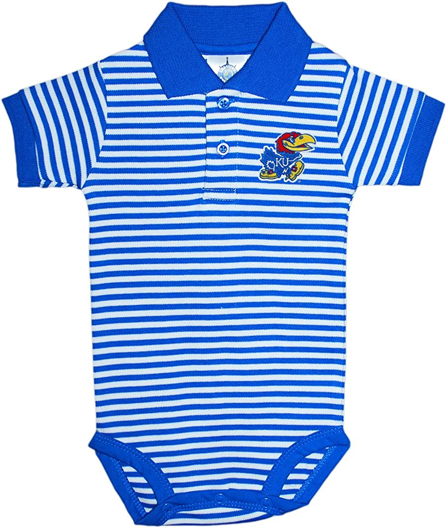 Creative Knitwear Kansas University Jayhawks Newborn Striped Polo Bodysuit