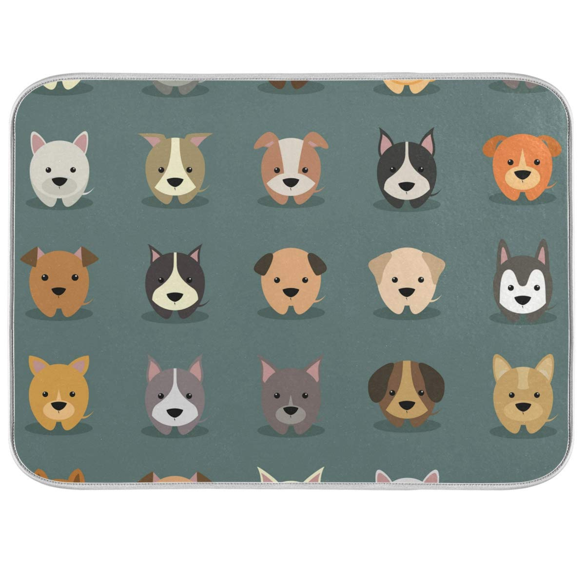 Dog Animal Drying Dishes Mat for Kitchen Polyester Absorbent Machine Washable Fast Dry Pad Dish Drainer Mat for Kitchen Counter 18x24 in 2010132