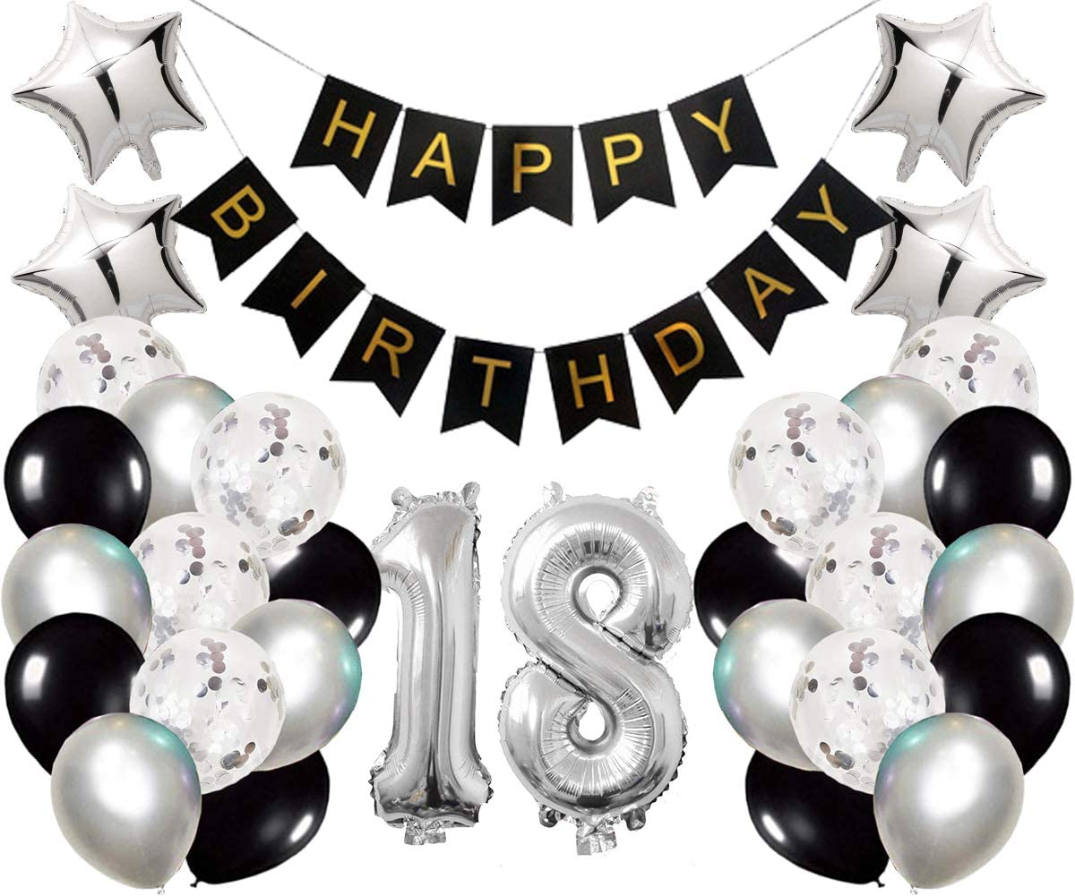 18th Birthday Party Decorations Kit Happy Birthday Banner with Number 18 Birthday Balloons for Birthday Party Supplies 18th Silver and Black Birthday Party Pack