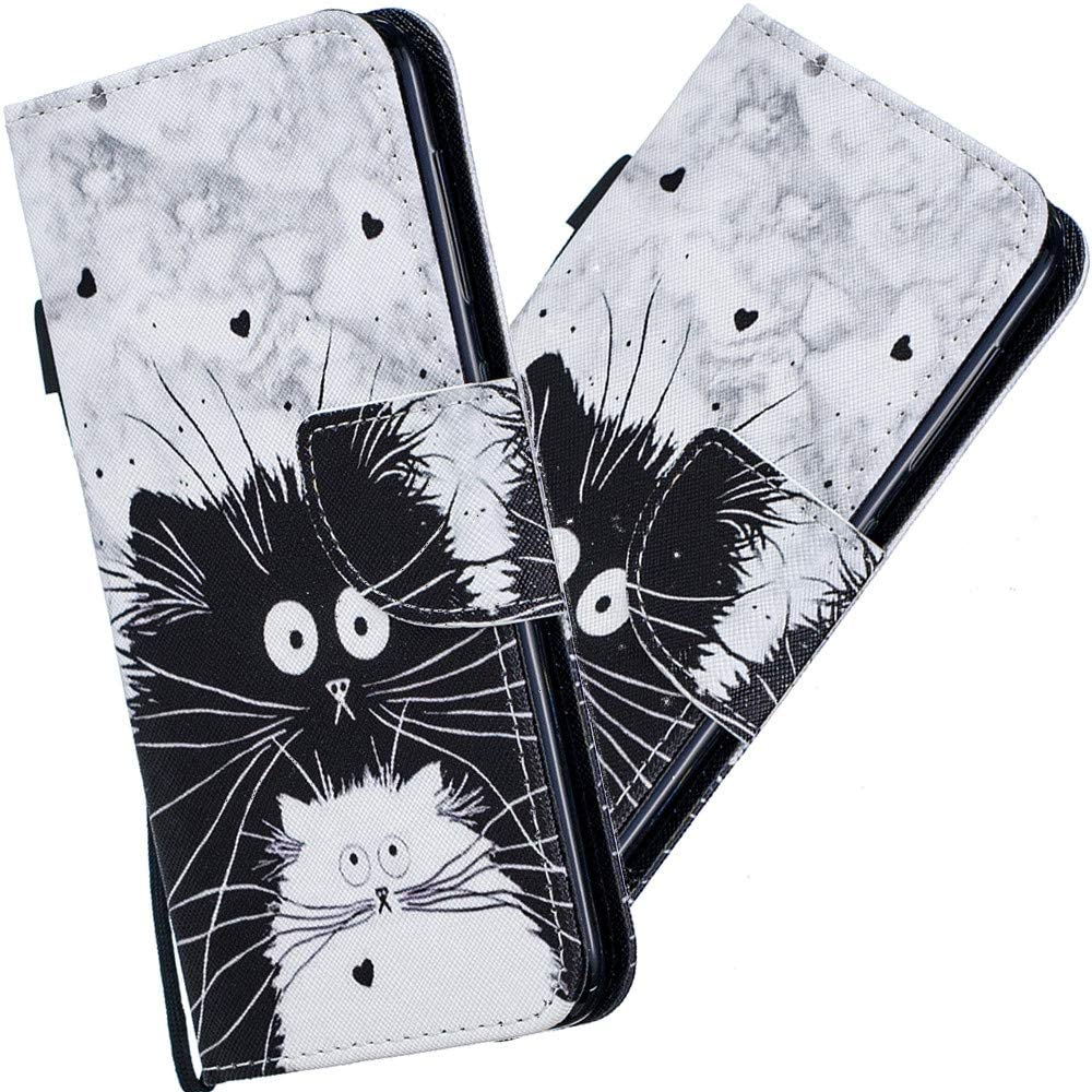 EMAXELER Xiaomi Redmi Note 8 Case Premium PU Leather Painted Flip Bookstyle Slim Wallet Shockproof Protection Case Magnetic with Stand Card Slot for Xiaomi Redmi Note 8 HX Black and White cat