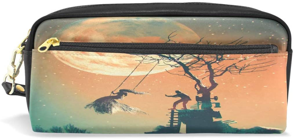ALAZA Halloween Night with Man Pushing Woman Pencil Case Pen Bag Stationery Pouch Purse Cosmetic Makeup Bag Zipper for Girls Boys Kids