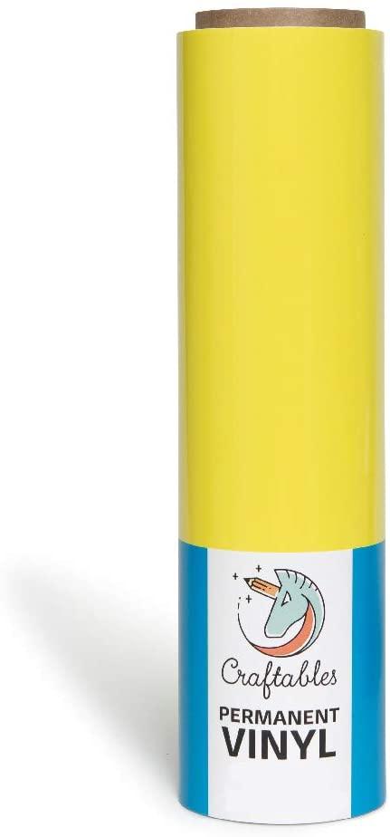 Craftables Bright Yellow Vinyl Roll - Permanent, Adhesive, Glossy & Waterproof   12