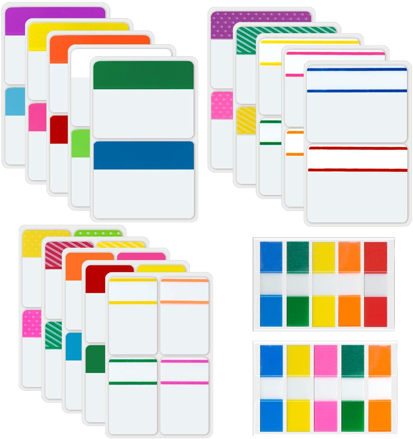 WeLiu Sticky Tabs Inch Index Tabs 1000 Pieces, Writable Filing Tabs for Pages or Notebooks,Classify Files,Colored Page Markers Self Adhesive,42 Sets(20 Colors,3 Sizes, 0.5Inch,1Inch and 2 Inch)
