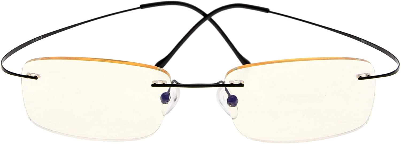 Titanium Computer Glasses Reading Eyeglasses Frameless Readers Blue Light Filter