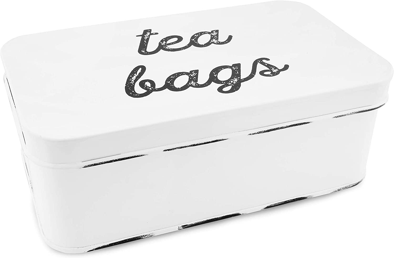 AuldHome Farmhouse Tea Bag Box, Vintage Retro Style Enamelware Tea Storage Tin