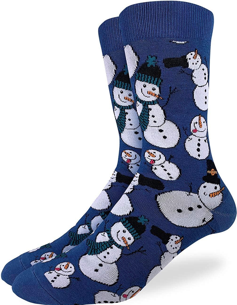 Good Luck Sock Men's Snowmen Socks - Blue, Adult Shoe Size 7-12