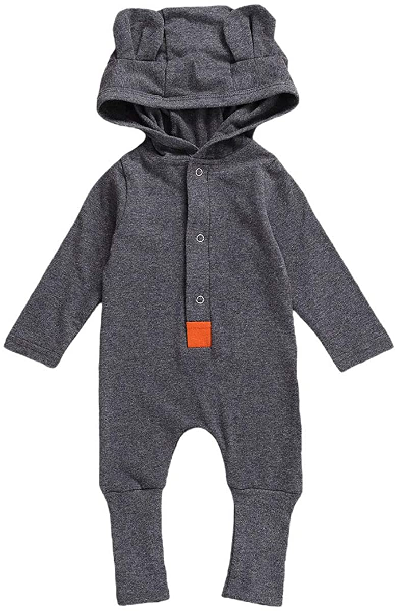 Ilyhaha Newborn Baby Girls Boys One Piece Romper Long Sleeve Hooded Bodysuit Jumpsuit Pajamas Winter Fall Outfit