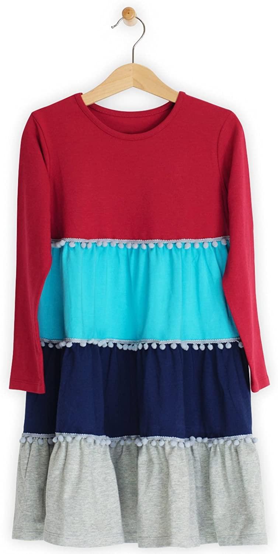 Lucky & Me | Emilia Girls Long Sleeve Dress | Children's Twirl Pop-Pom Trim Tiered Skirt