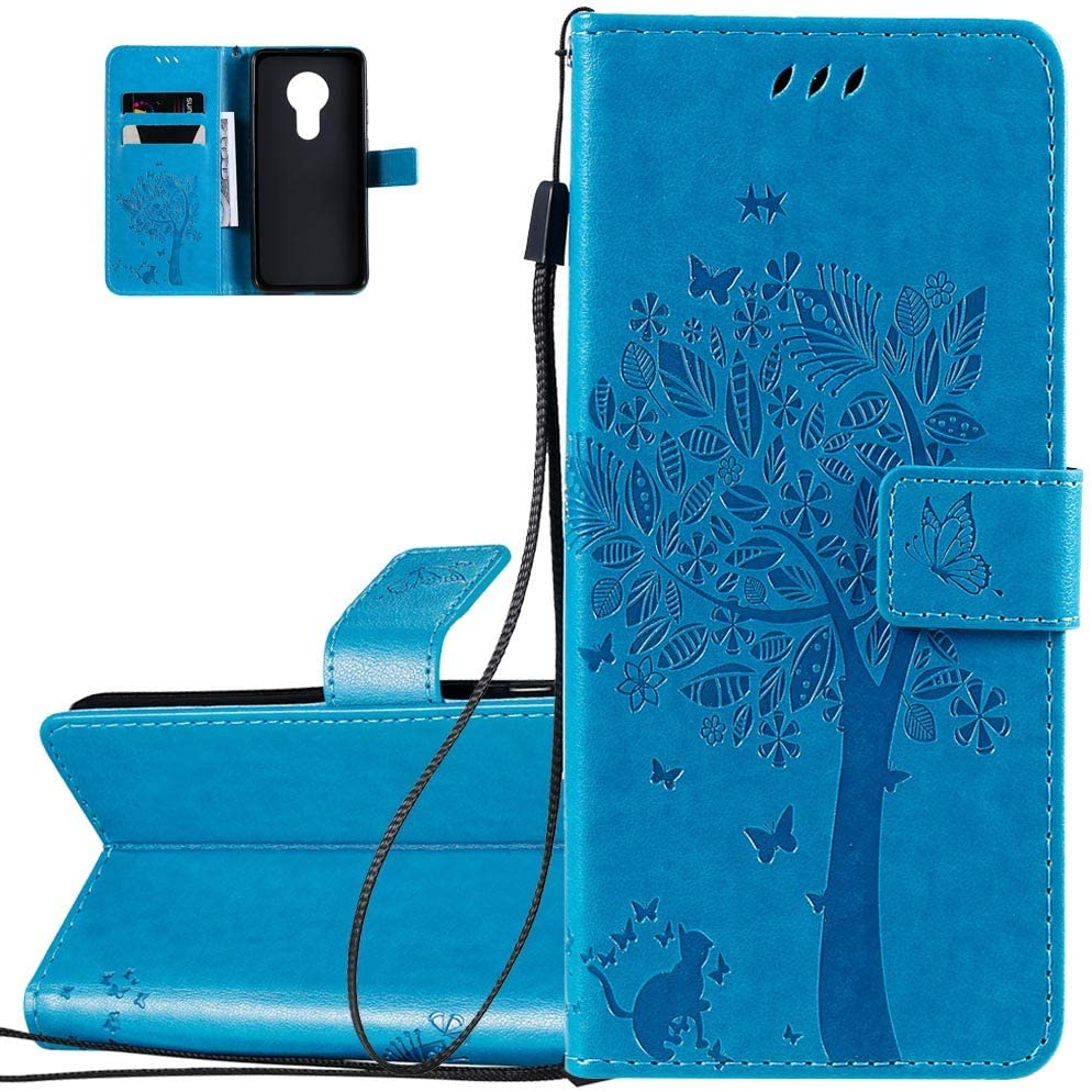 Asdsinfor Nokia 7.2 Case Full Stylish Advanced Embossing Wallet Case Credit Cards Slot with Stand for PU Leather Shockproof Flip Magnetic Case for Nokia 7.2 Wishing Tree Blue KT