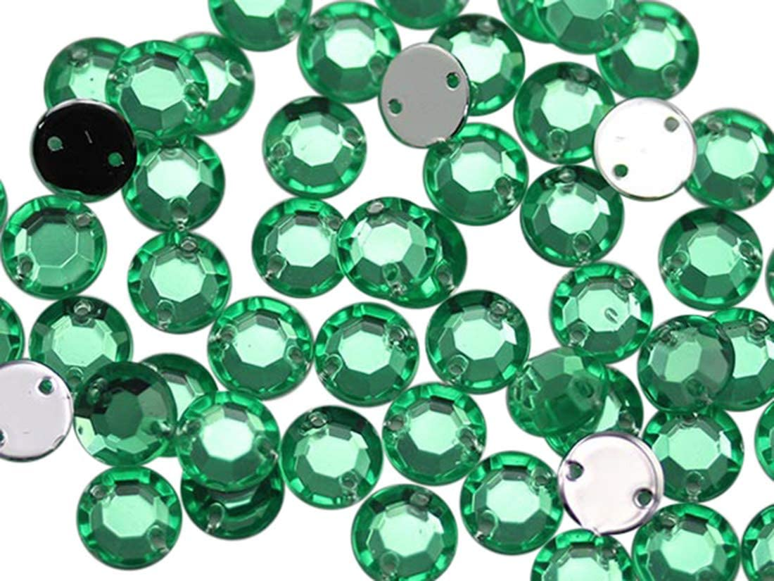 Allstarco 8mm Flat Back Sew On Rhinestones Beads for Crafts Plastic Acrylic Round Gems with Holes for Sewing, Clothing Embelishments, Costume Cosplays Green Peridot H110-75 Pieces