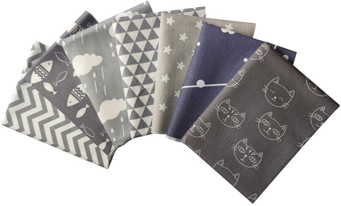 levylisa 7pcs Fat Quarters 18x22 Fabric Bundle Squares Gray Style Cats Fish Star Cloud Printed Quilting Patchwork for Sewing DIY Crafts Handmade Bags