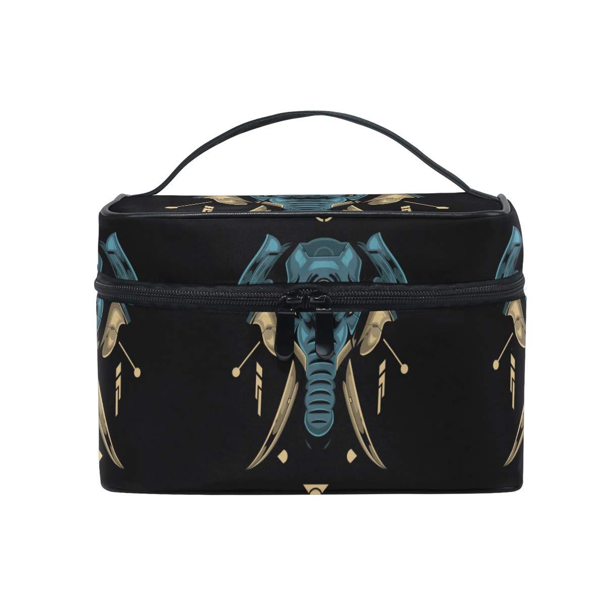 Cute Elephant Head Black Women Makeup Bag Travel Cosmetic Bags Toiletry Train Case Beauty Pouch Organizer